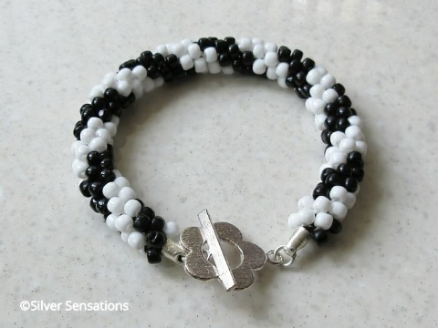 Black & White Twin Stripe Kumihimo Fashion Bracelet
